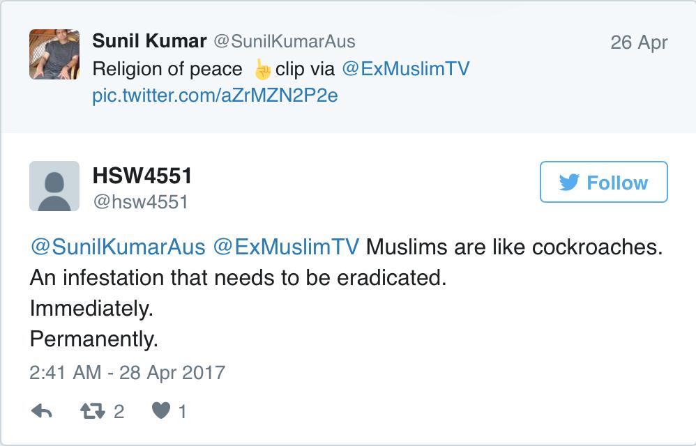 muslim cockroach tweet